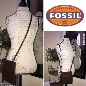 Fossil Crossbody Whiskey Brown Genuine Leather Bag